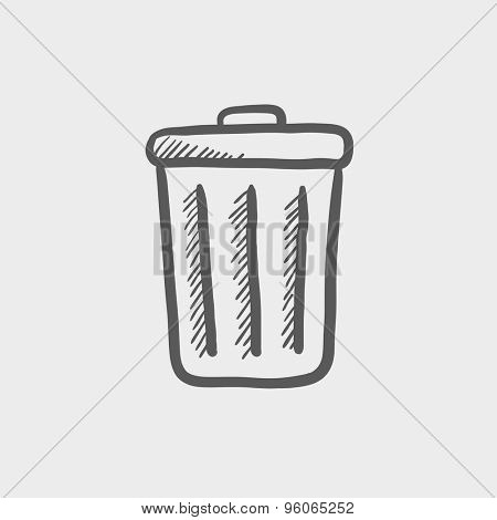 Trash can sketch icon for web and mobile. Hand drawn vector dark grey icon on light grey background.