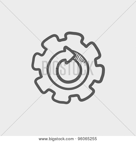 Gear wheel with arrow sketch icon for web and mobile. Hand drawn vector dark grey icon on light grey background.