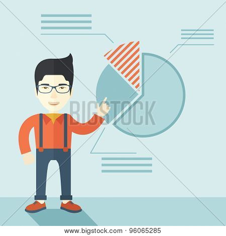 A young chinese guy represents and share his business financial pie chart. Teamwork concept. A contemporary style with pastel palette soft blue tinted background. Vector flat design illustration
