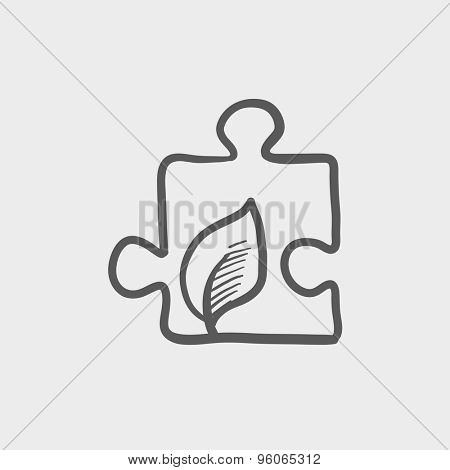 Jigsaw puzzle with leaf sketch icon for web and mobile. Hand drawn vector dark grey icon on light grey background.