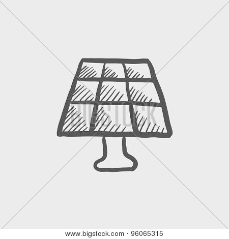 Lamp sketch icon for web and mobile. Hand drawn vector dark grey icon on light grey background.