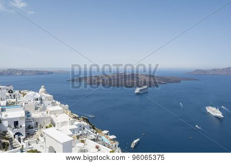 Panoramic view of volcano from caldera at Fira. Santorini island, Greece.
