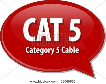 Speech bubble illustration of information technology acronym abbreviation term definition CAT 5 Category 5 cable