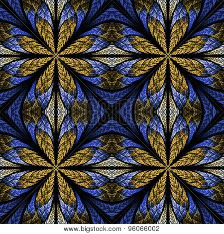 Symmetrical Pattern In Stained-glass Window Style. Blue And Beige Palette. Computer Graphics