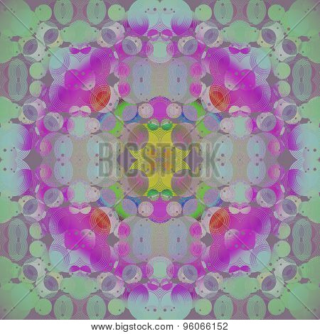 Seamless floral pattern green purple