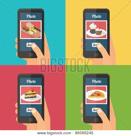 People taking photo of their food