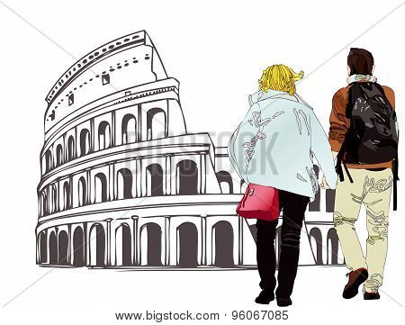An Engaged Couple In Rome - Italy