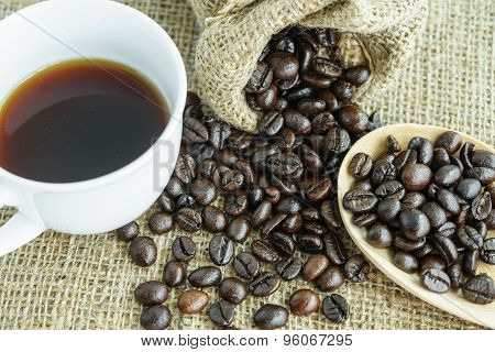 Coffee Bean And Cup Of Coffee