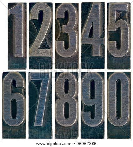 ten arabic numerals 0 to 9 in old grunge metal letterpress printing blocks isolated on white