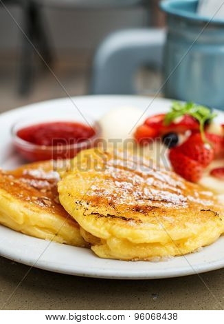 Traditional Pancakes With Strawberries Jam And Vanilla Ice Cream, Selective Focus Pancake