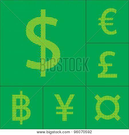 Currency Symbol Dollar, Euro, Yen, Pound, Baht
