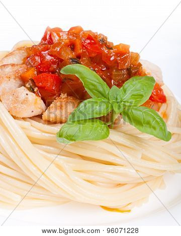 Plate With Spaghetti, Sauce And Basil On White Background. Chicken In Sweet And Sour Sauce With Pine