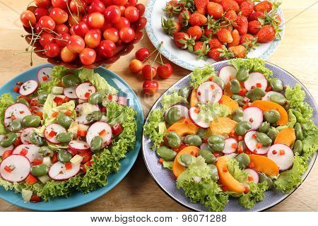 Salads And Fruits.