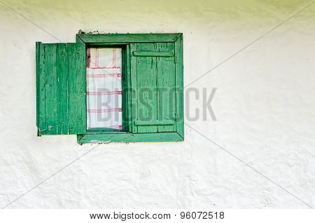 Old Window With Green Wooden Shutters
