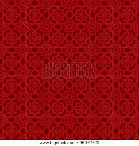 Seamless vintage Chinese window tracery polygon star flower pattern background.