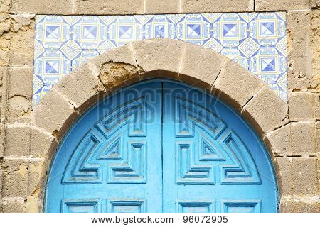 Antique Door In Morocco Africa Blue