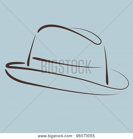 Sketched man s fedora hat.