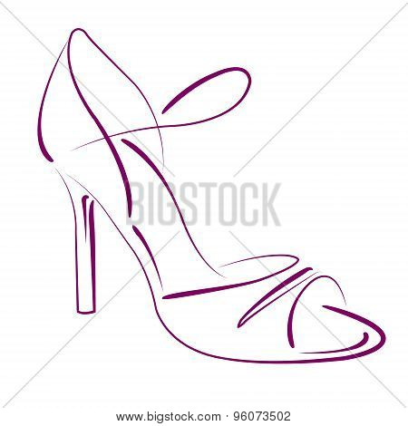 Elegant sketched woman s shoe.