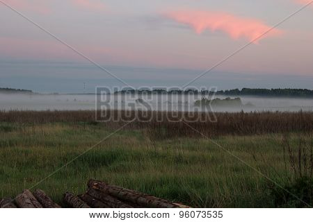 Field And Forest In Fog At Sunset