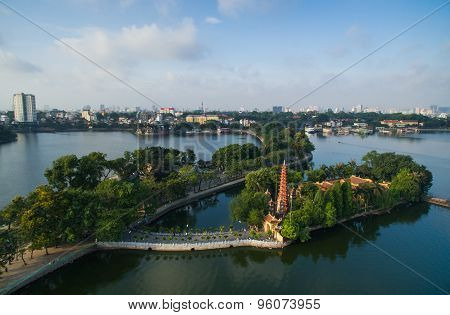 Tran Quoc pagoda in early morning in Hanoi, Vietnam