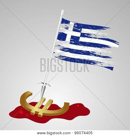 Greek Euro Exit With Flag And Bleeding Euro Symbol Eps10