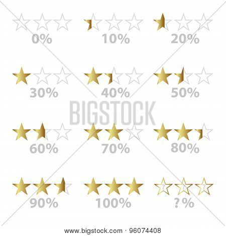 Gold Stars And Percentage For Rating And Reviews Eps10