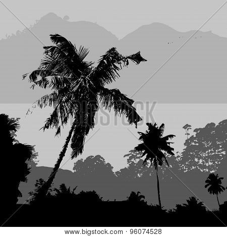 Gray Tropical Landscape Scenery With Hills And Palms Near Sea Eps10