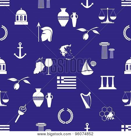 Greece Country Theme Symbols And Icons Seamless Pattern Eps10