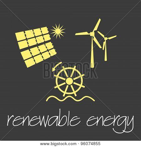 Renewable Energy Source Symbols Simple Banner Eps10