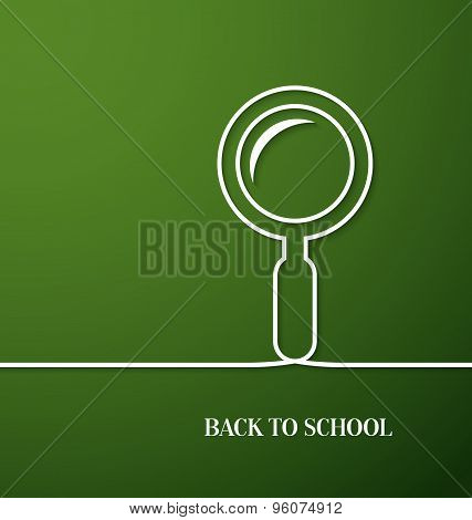 Back To School Card With Paper Magnifying Glass.