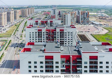 European residential district in Tyumen. Russia