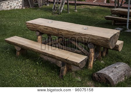 Garden Wooden Table And Bench