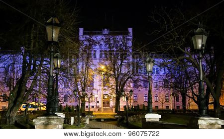 Building of the Latvian university in night illumination