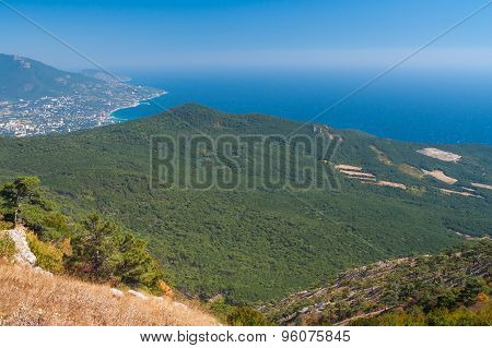 View on Yalta city from the Ai-Petri mountain