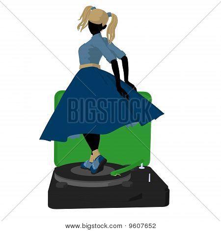 50's Girl Illustration Silhouette