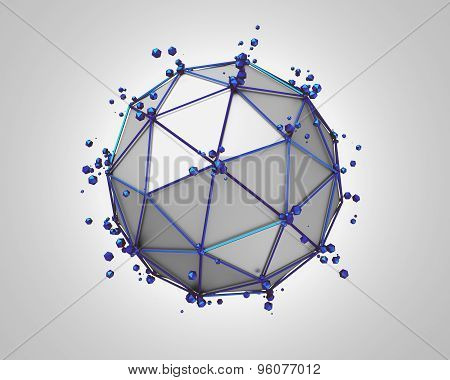 Abstract 3D Rendering of Low Poly Metal Sphere.