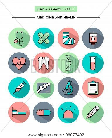 Set Of Flat Design,long Shadow, Thin Line Medicine And Health Icons