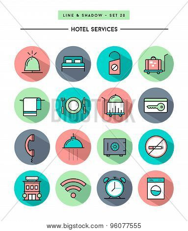 Set Of Flat Design,long Shadow, Thin Line Hotel Services Icons