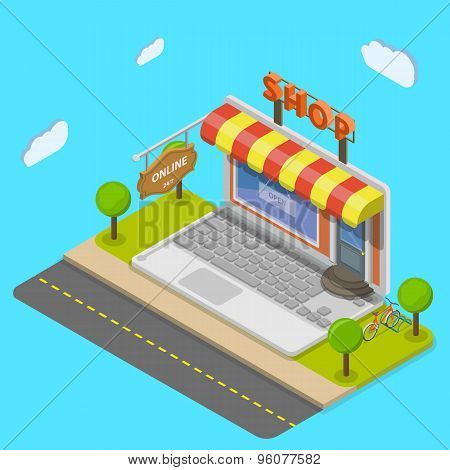 Online shop flat isometric vector concept.