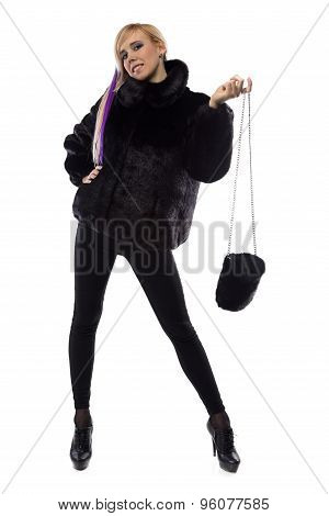Photo of woman with fur bag, hand up