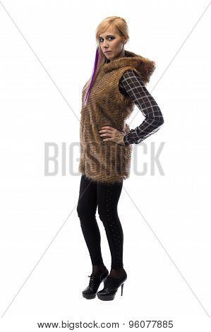 Image of blonde in brown fur jacket, half turned