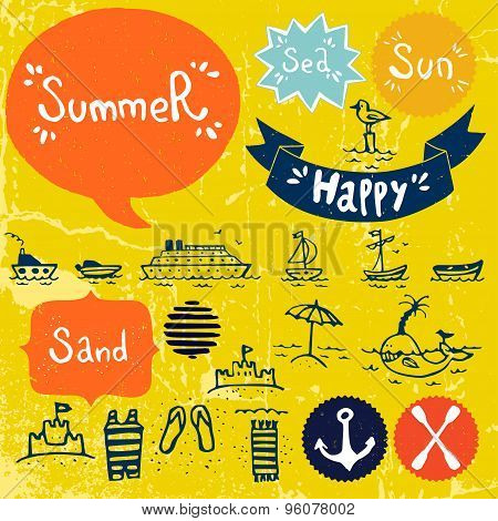Cartoon Summer Icons