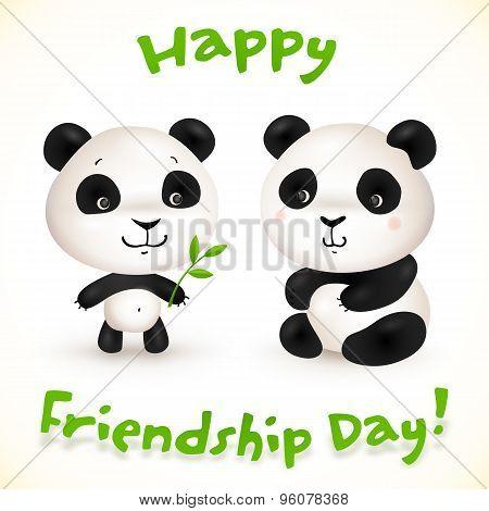 Cute little pandas friends, vector illustration