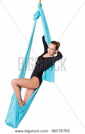 Woman Relaxing In Hammock Isolated