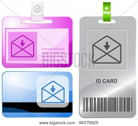 mail downarrow. Vector id cards.