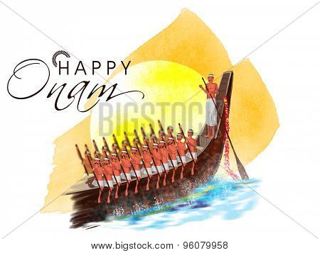 Illustration of a snake boat with participant oarsmen trying to win the competition on occasion of South Indian festival, Happy Onam celebration.