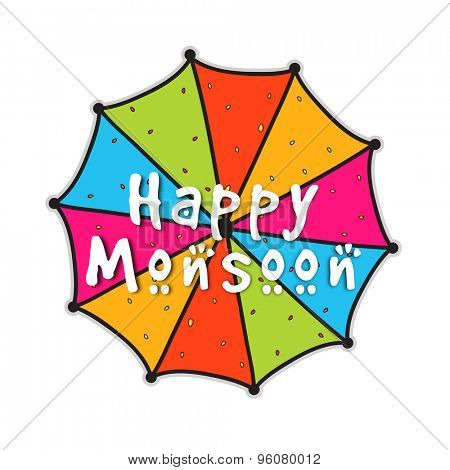 Colorful umbrella design on shiny background for Happy Monsoon.