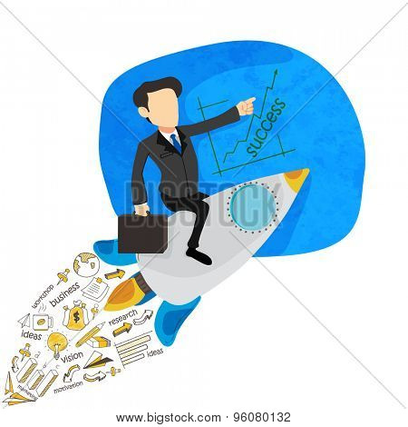 Illustration of a young business man flying on a rocket with various business infographic elements for start up.