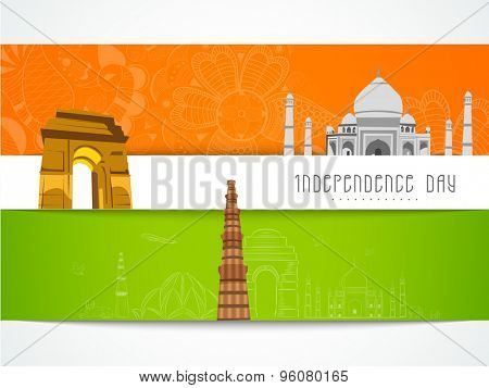 Creative floral greeting card design decorated with famous monuments for Indian Independence Day celebration.