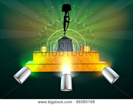 Soldier gun and hat on golden stage in spotlight on floral design decorated green rays background for Indian Independence Day celebration.